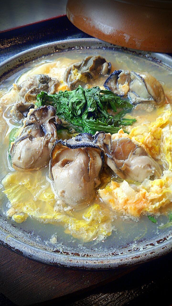 牡蠣と白菜の卵とじ
